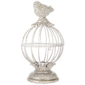 Gray Metal Bird Cage with Bird on Top